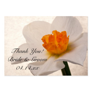 White Spring Daffodils Wedding Favor Tags Large Business Card