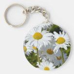 White spring daisies basic round button keychain