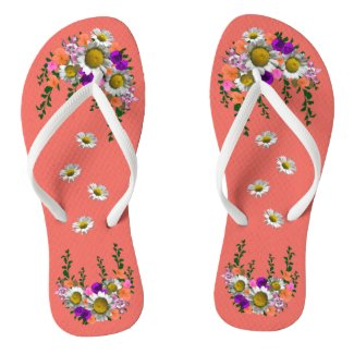 White Spring Daisy on Coral Flip Flops