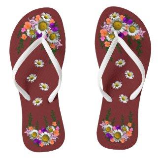 White Spring Daisy on Maroon Flip Flops