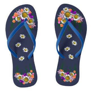 White Spring Daisy on Navy Blue Flip Flops