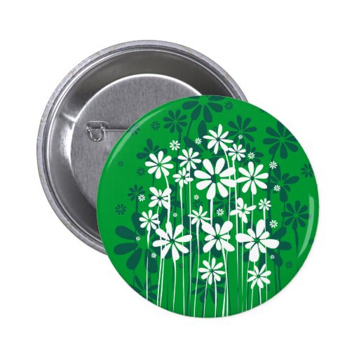 White Spring Flowers button