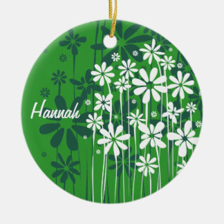 White Spring Flowers customizable green ornament