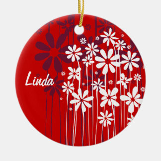 White Spring Flowers customizable red ornament