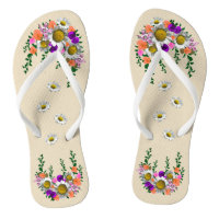White Sprint Daisy on Tan Flip Flops