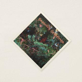 White Spruce Pine Needles Seasons Greetings Napkin