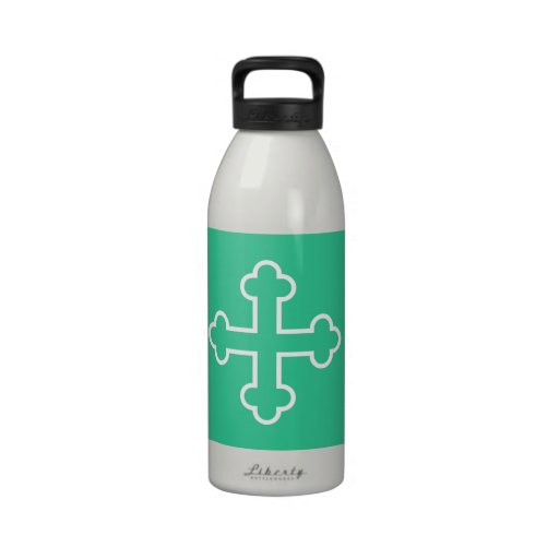 white square apostles cross or budded cross water bottles