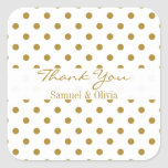 White Square Custom Gold Polka Dotted Thank You Square Sticker