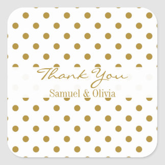 White Square Custom Gold Polka Dotted Thank You Stickers