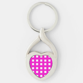 White Squares on Pink Keychain