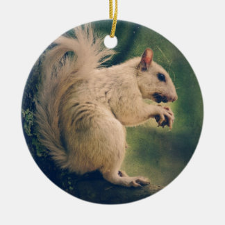 White Squirrel Ceramic Ornament