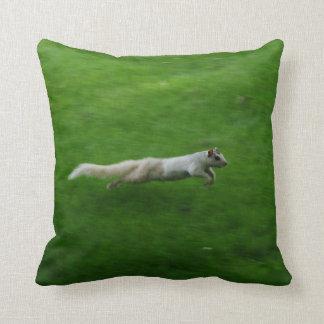 White Squirrel Run Throw Pillow
