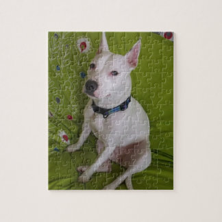 White Staff Dog Jigsaw Puzzle