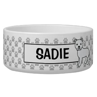 White Staffordshire Bull Terrier And Name Bowl
