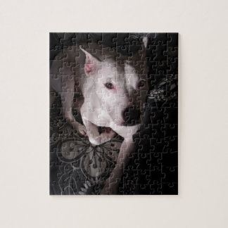White Staffordshire Bull Terrier In Shadows Jigsaw Puzzle