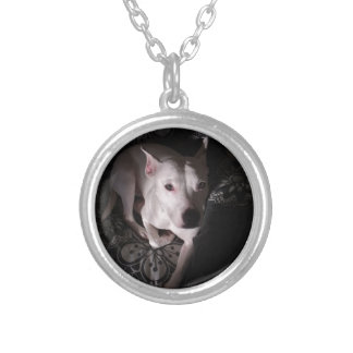 White Staffordshire Bull Terrier In Shadows Silver Plated Necklace