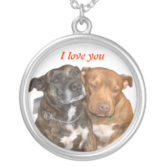 White Staffy I Love You Silver Plated Necklace