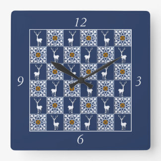 White Stag and Decorative Squares Pattern Square Wall Clock