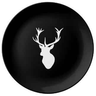White Stag Head Dinner Plate