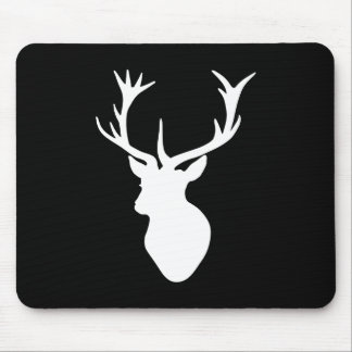 White Stag Head Mouse Pad
