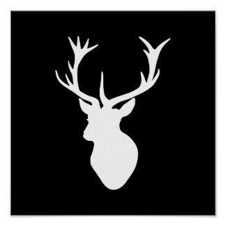 White Stag Head Poster
