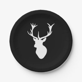 White Stag Head 7 Inch Paper Plate