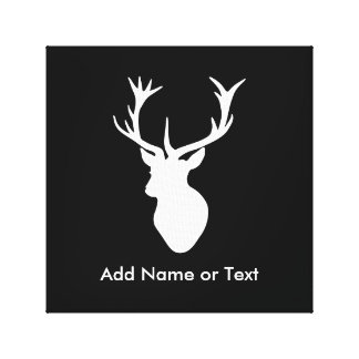 White Stag Head with Antlers Canvas Print