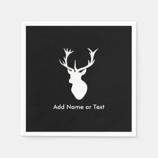 White Stag Head with Antlers Paper Napkin