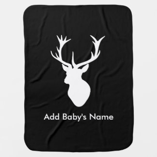 White Stag Head with Antlers Swaddle Blanket