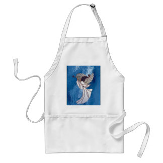 White Stained Glass Angel on Blue Adult Apron