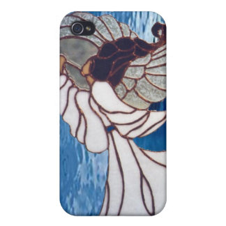 White Stained Glass Angel on Blue iPhone 4 Covers