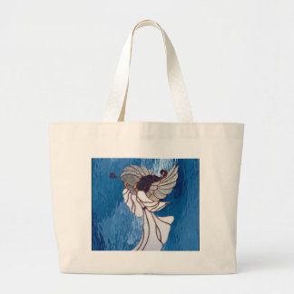 White Stained Glass Angel on Blue Large Tote Bag