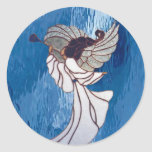 White Stained Glass Angel on Blue Sticker