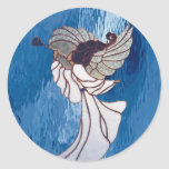 White Stained Glass Angel on Blue Stickers