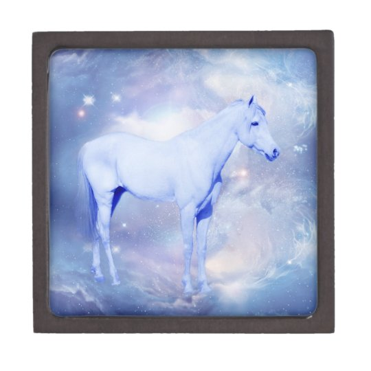 White stallion fantasy jewelry box