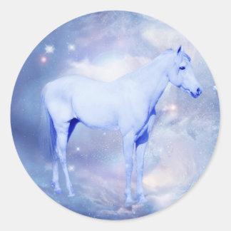 White stallion fantasy classic round sticker