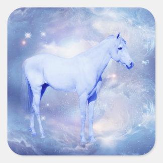White stallion fantasy square sticker