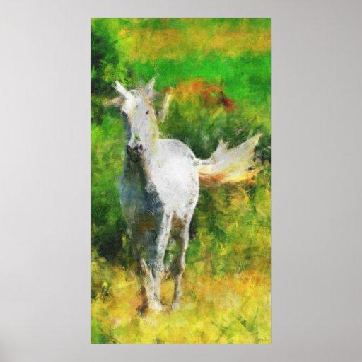 White Stallion Horse-lovers Impressionist Art Poster