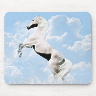White stallion horse rearing mouse pad