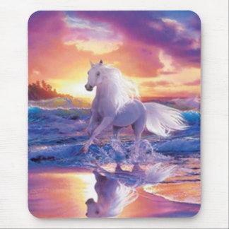 White Stallion Mouse Pad
