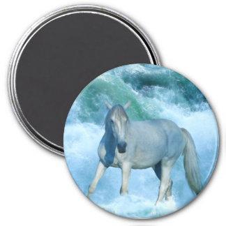 White Stallion & Ocean Waves Equine Art Magnet