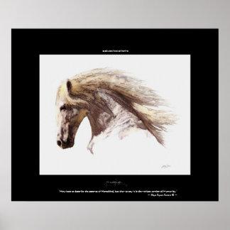 WHITE STALLION & Poem, Horse Lover Fine-Art Poster