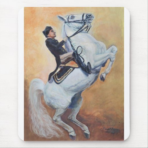 White Stallion with Dressage Rider Mouse Pads