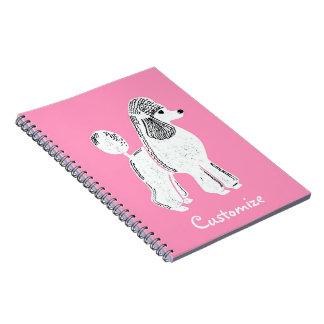 White Standard Poodle Custom Pink Notebook