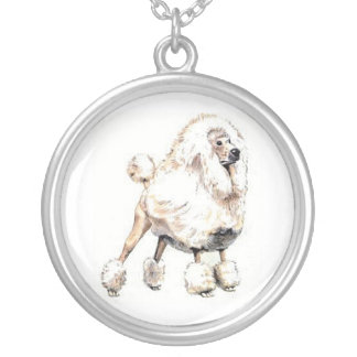 White Standard Poodle Dog Necklace
