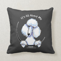 White Standard Poodle IAAM Throw Pillow