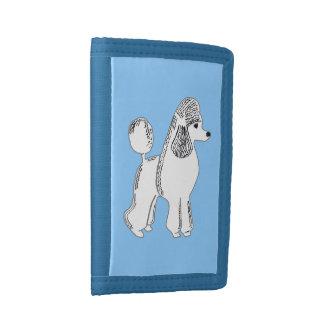 White Standard Poodle Light Blue Wallet