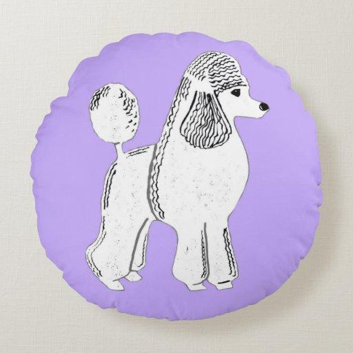 White Standard Poodle Lilac Round Throw Pillow Round Pillow Zazzle