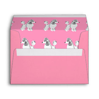 White Standard Poodle Pink Greeting Card Envelopes