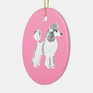White Standard Poodle Pink Oval Ornament